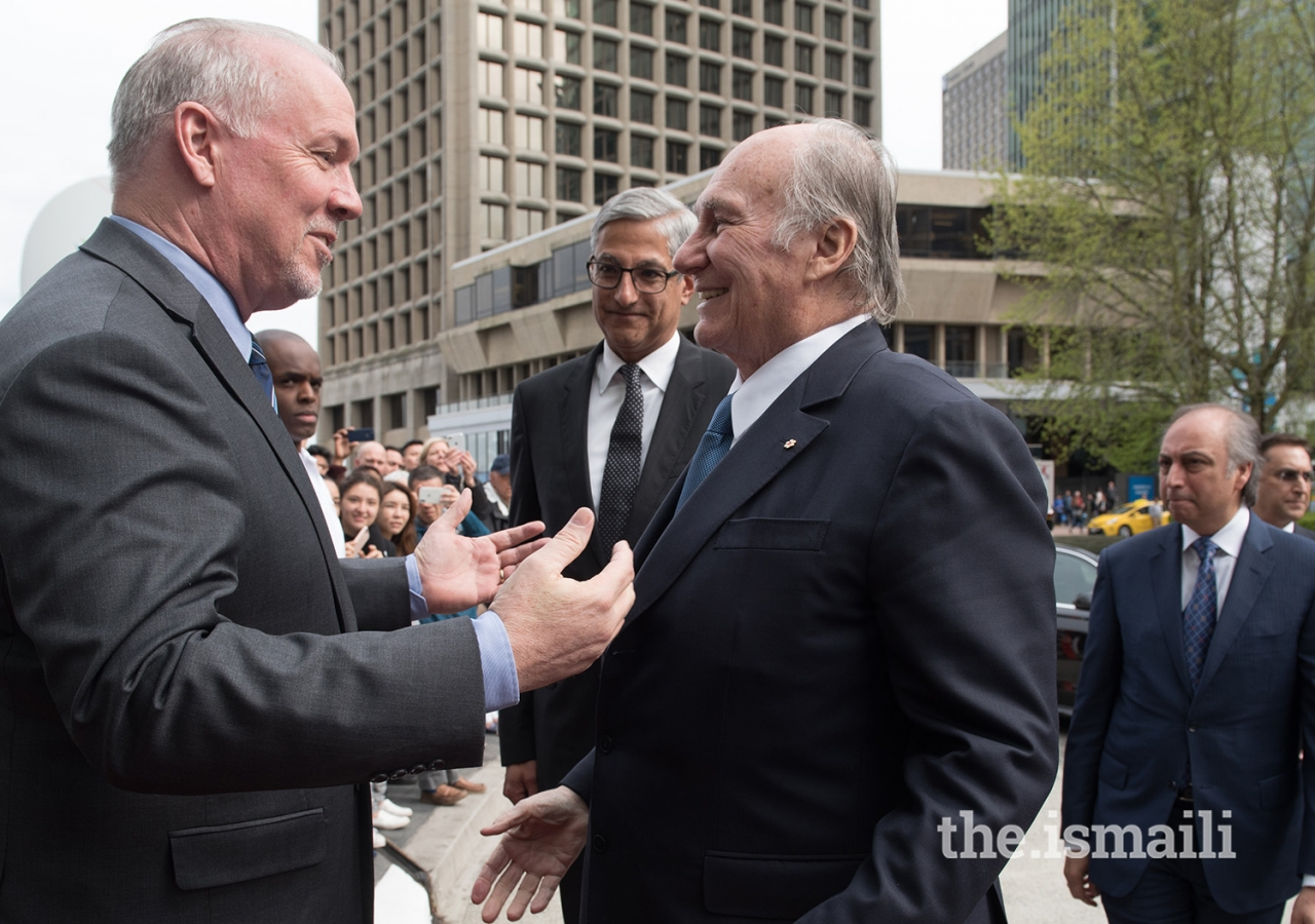 Shortly after arriving in Vancouver, Mawlana Hazar Imam met with the Honourable John Horgan, Premier of British Columbia.