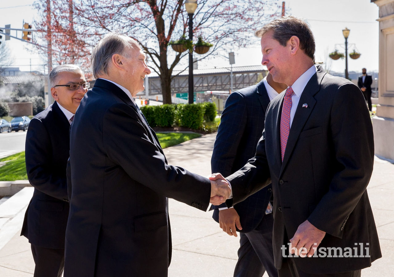 Upon his arrival at the Georgia State Capitol, Mawlana Hazar Imam meets Georgia Secretary of State, Brian Kemp, as Dr. Barkat Fazal, President of the Ismaili Council for USA looks on.