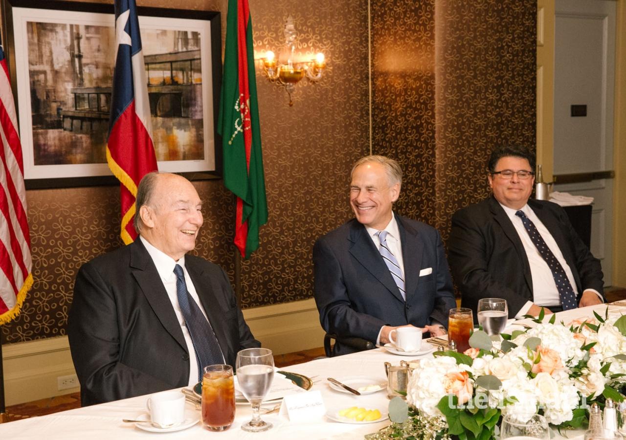 Mawlana Hazar Imam with Governor of Texas Greg Abbott and Secretary of State for Texas Rolando Pablos.