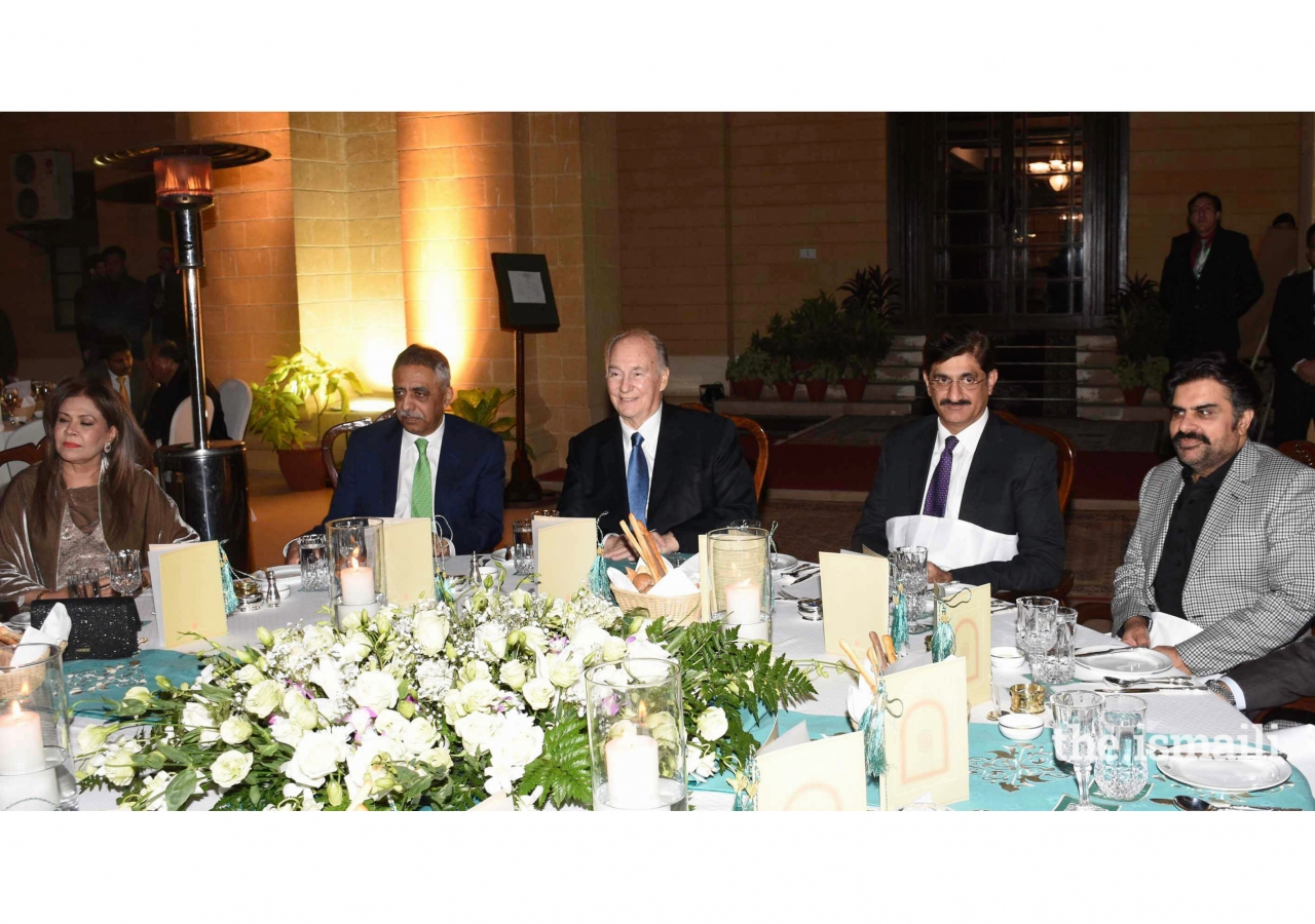 Muhammad Zubair, Governor of Sindh hosted a dinner in honour of Mawlana Hazar Imam at the Governor's House Karachi. Syed Murad Ali Shah, Chief Minister of Sindh, and Institutional leaders were also present.