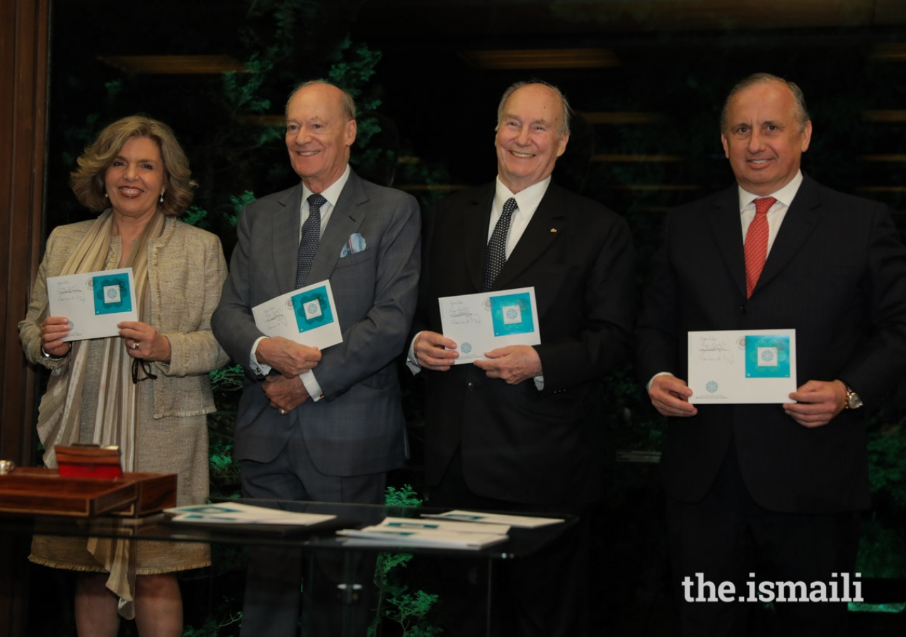 Mawlana Hazar Imam with Isabel Mota, President of the Calouste Gulbenkian Foundation; Prince Amyn, and Francisco Lacerda, CEO of the CTT (Portuguese Postal Services).