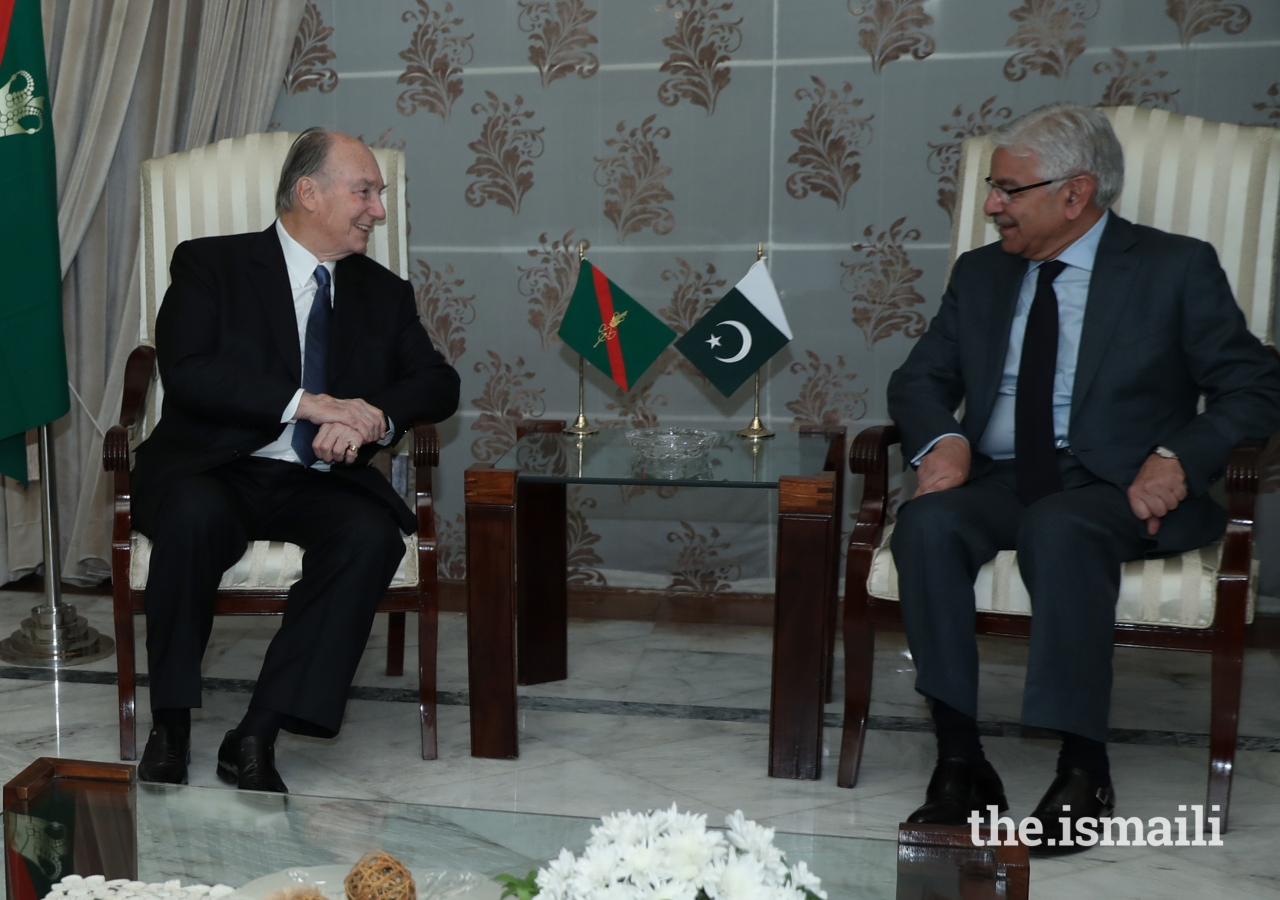 Mawlana Hazar Imam in discussion with Pakistan's Minister of Foreign Affairs Mr. Khawaja Asif upon his arrival at Nur Khan Air Base, Islamabad.