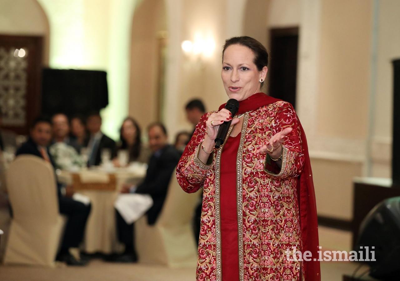 Princess Zahra Aga Khan speaking at the institutional dinner held at Serena Hotel Islamabad