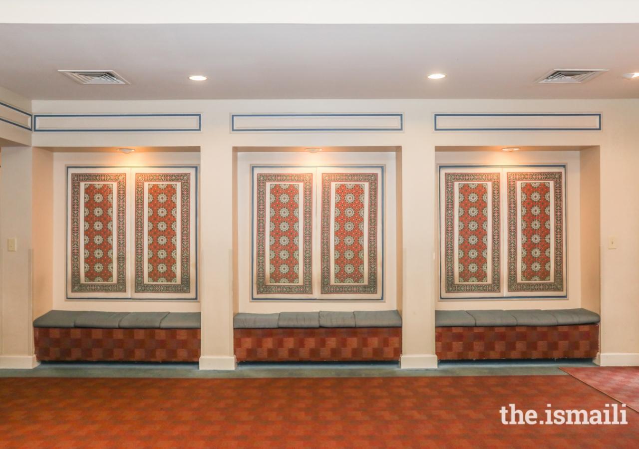 Block print artwork adorns the lobby of the Ismaili Jamatkhana, Atlanta