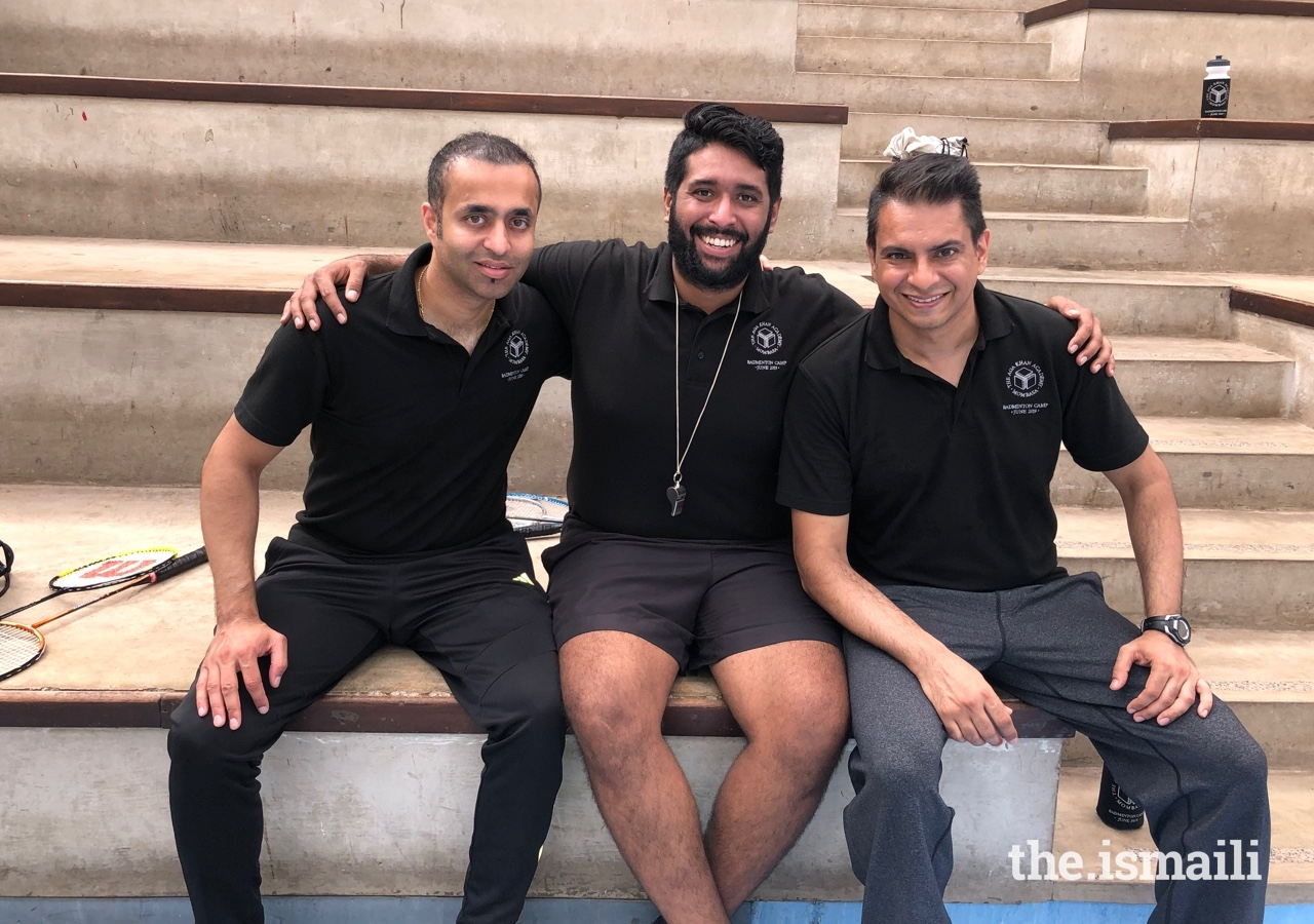 (L to R) Badminton coaches Fayaz Ladak from the UK, and Rahim Karmali and Azam Kanani from Canada, travelled to Kenya to mentor and train promising young sporting talent at the Aga Khan Academy in Mombasa.