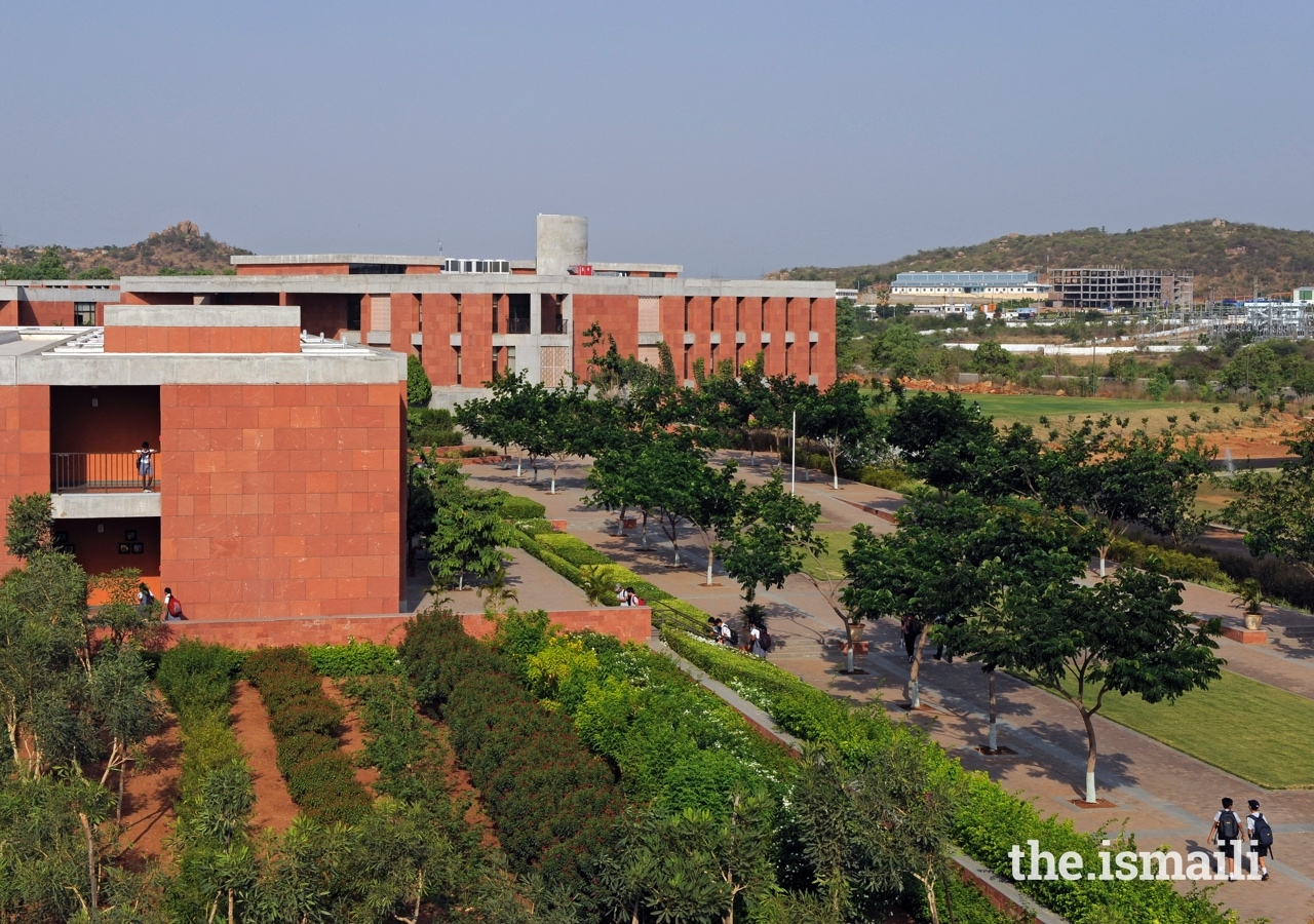 Ariel view of the Aga Khan Academy's campus in Hyderabad. The Academies provide state-of-the-art sporting facilities, where students can excel in football, basketball, swimming, cricket, and hockey, among other sports.