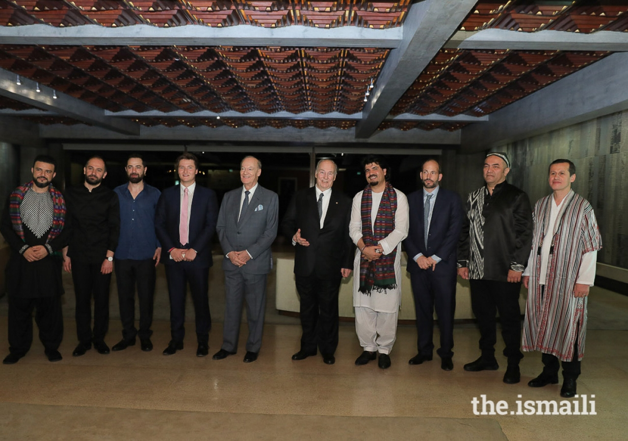 Mawlana Hazar Imam with Siar Hashimi, Feras Charestan, Basel Rajoub, Prince Aly Muhammad, Prince Amyn, Homayoun Sakhi, Prince Hussain, Abbos Kosimov, and Sirojiddin Juraev.