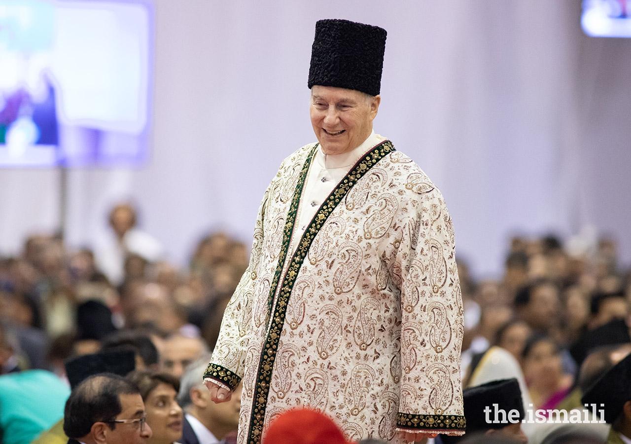 Mawlana Hazar Imam walks through the Jamat at the Diamond Jubilee Darbar in Lisbon on 11 July 2018.