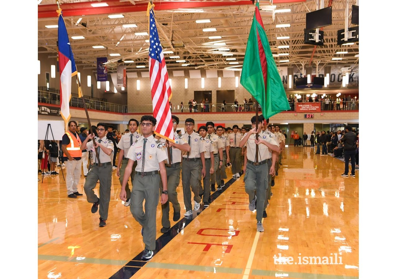 The Austin Boys Scouts lead the flag ceremony and procession during the opening ceremony.