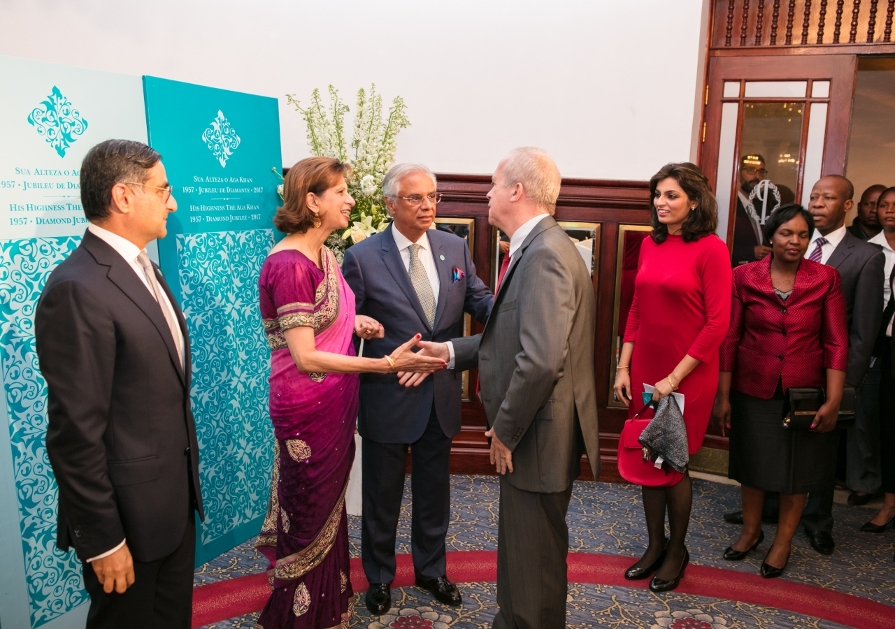 The French Ambassador, Mr Bruno Clerc, being welcomed by Mr Nazim Ahmad and spouse, while the Council President, Mr Amin Rawjee, looks on.