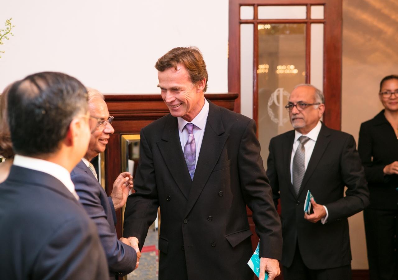 The Representative of the European Union, Ambassador Sven Kühn Von Burgdsdorff, with Mr Nazim Ahmad.