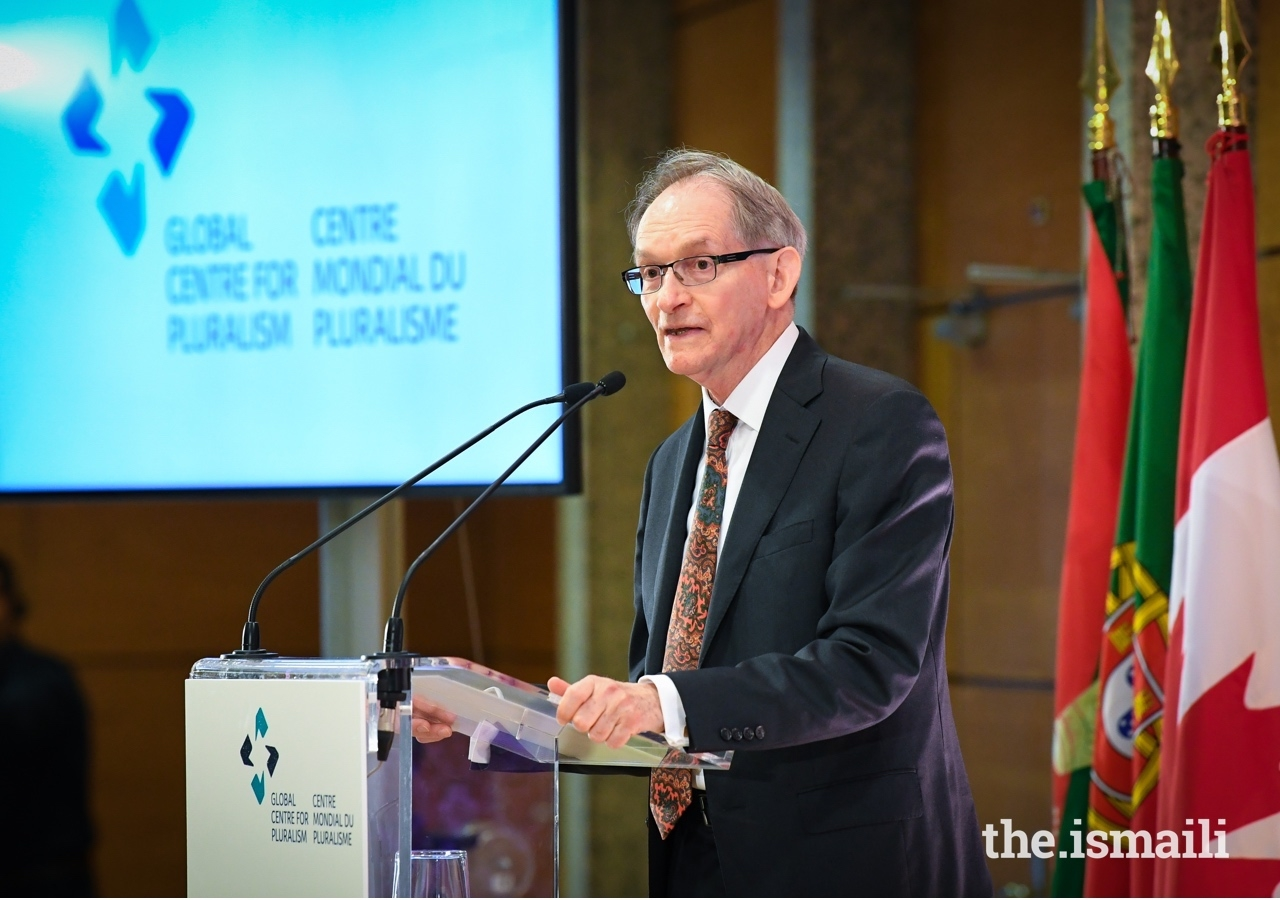 John McNee, Secretary General of the Global Centre for Pluralism delivers opening remarks at the 2019 Annual Pluralism Lecture.