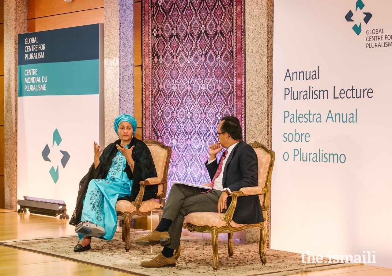 Deputy Secretary-General of the United Nations Amina J. Mohammed engages in conversation with journalist and News Director at Portugal's Impresa Media Group, Ricardo Costa.