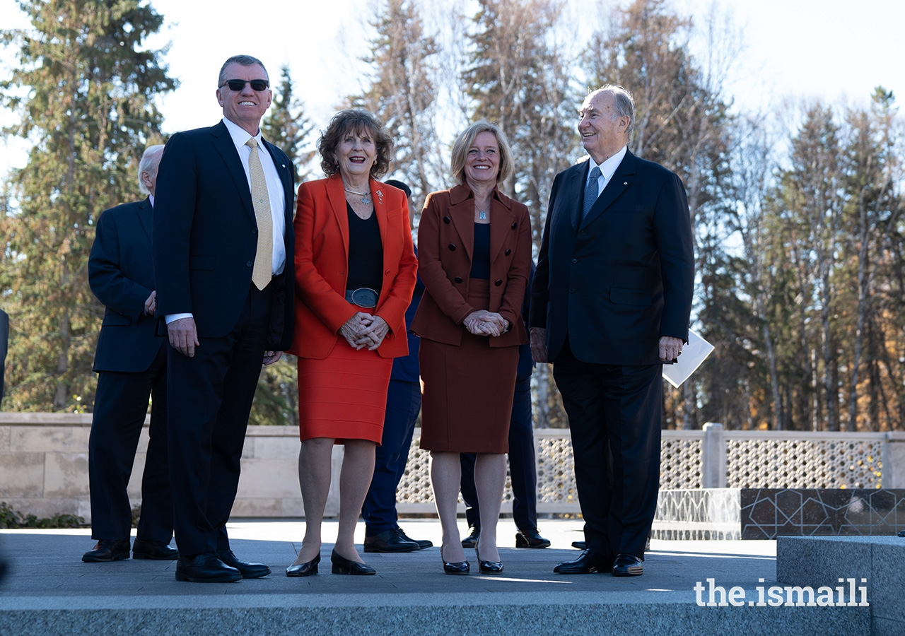 From left: University of Alberta President David Turpin, Lieutenant Governor of Alberta Lois Mitchell, Premier of Alberta Rachel Notley, and Mawlana Hazar Imam take in the beautiful views of the Aga Khan Garden.