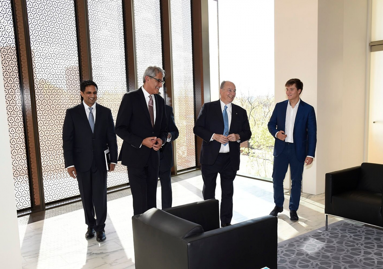 Mawlana Hazar Imam and Prince Aly Muhammad at the Global Centre for Pluralism, accompanied by Ismaili Council for Canada President Malik Talib and Farhad Mawani, Project Manager for the renovation of 330 Sussex Drive.