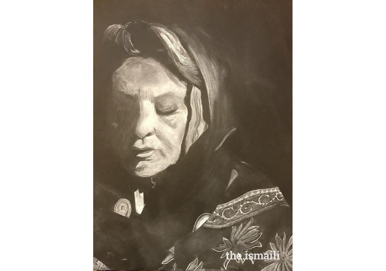 Elevated Spirit, a portrait of the artist's grandmother, Saira Iqbal, Dallas