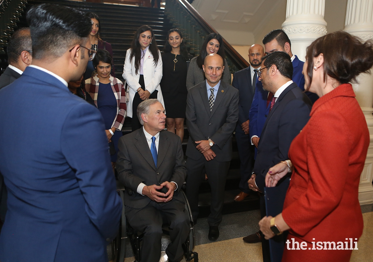 Texas Governor Greg Abbott speaking with volunteers from the Ismaili community at the State Capitol in Austin, TX on 26 May 2021.