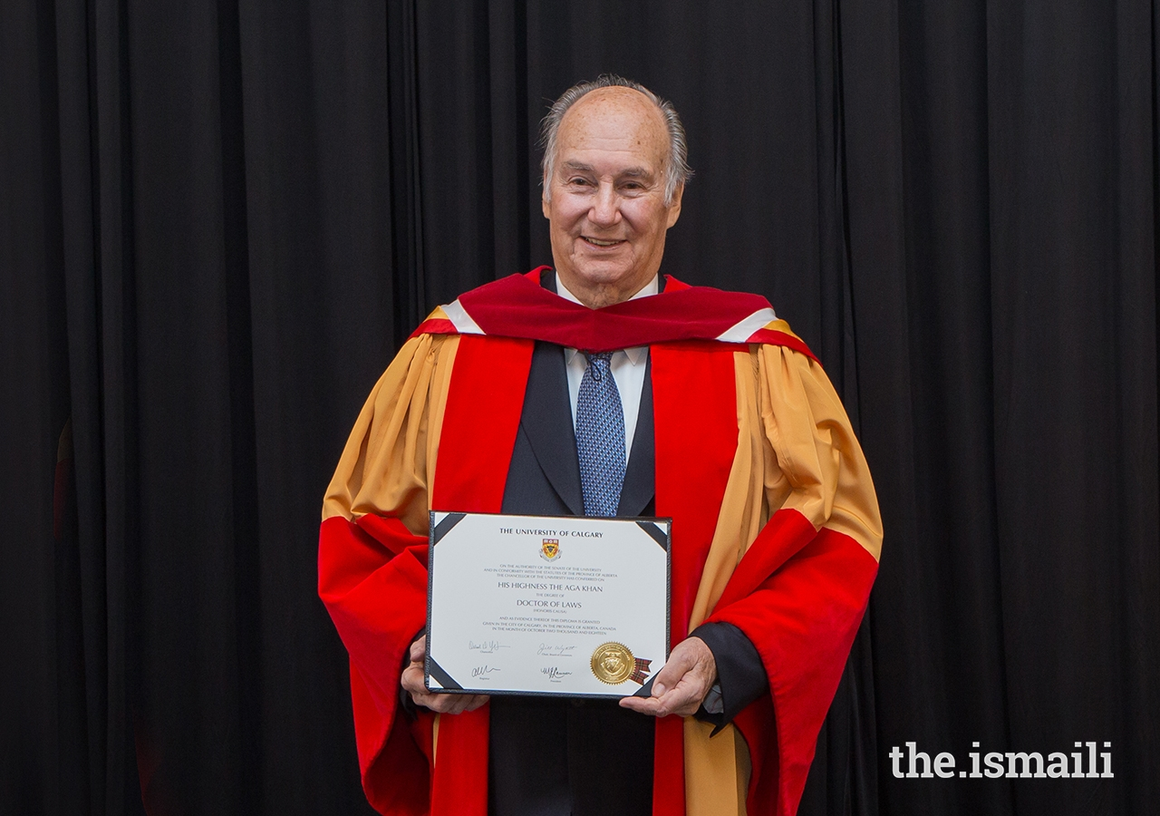 "Mawlana Hazar Imam poses for a photo following a ceremony where he was conferred with an honorary Doctor of Laws degree by the University of Calgary in recognition of his ""impact and spirit,"" which Chancellor Deborah Yedlin noted ""have been felt by millions of people."""