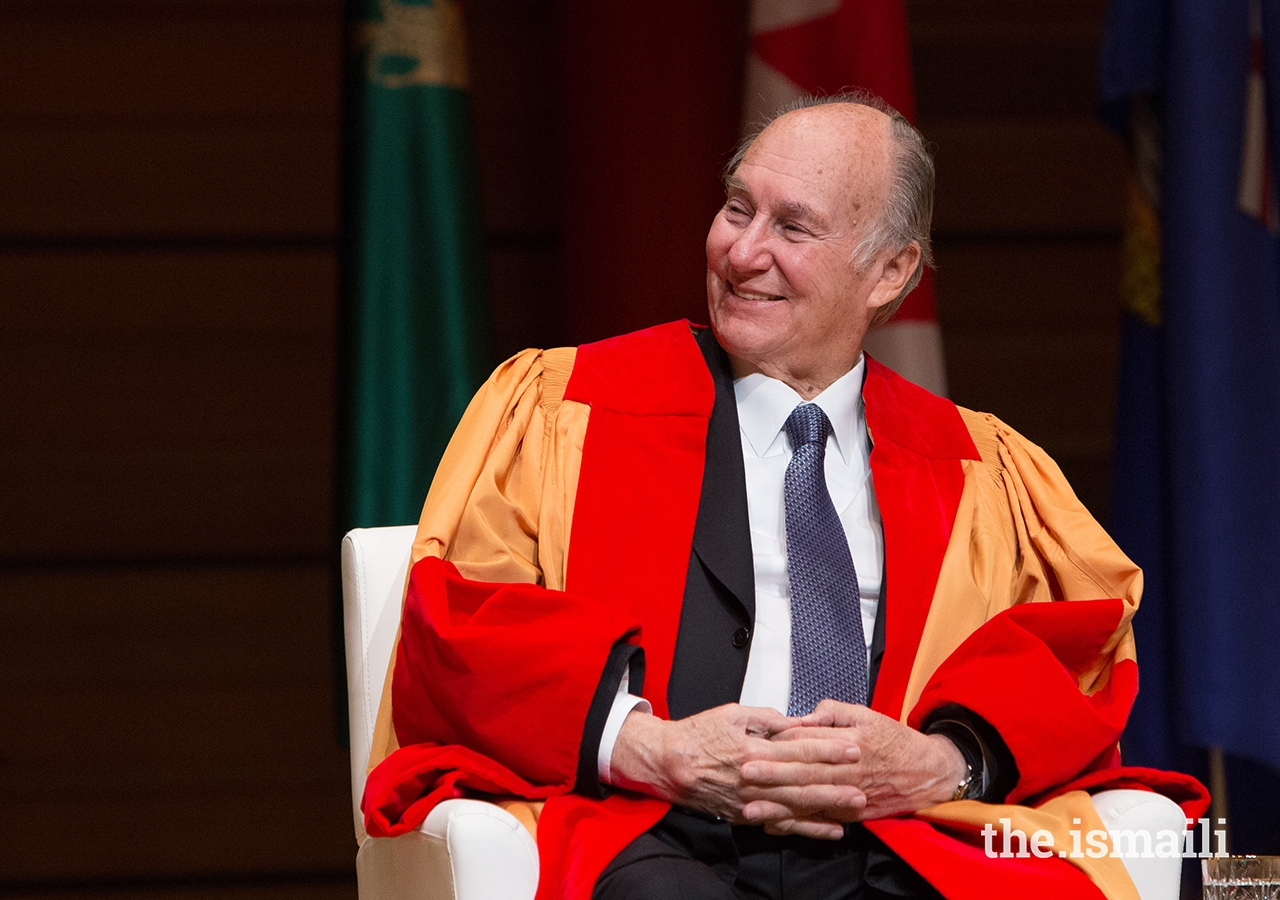 Mawlana Hazar Imam looks on as University of Calgary President Dr Elizabeth Cannon reads aloud the citation accompanying the honorary Doctor of Laws degree conferred upon him in a special ceremony at the University's Rozsa Centre. The citation highlighted Hazar Imam's outstanding contributions to humanity and expressed admiration for his ability to bring together faith and action.