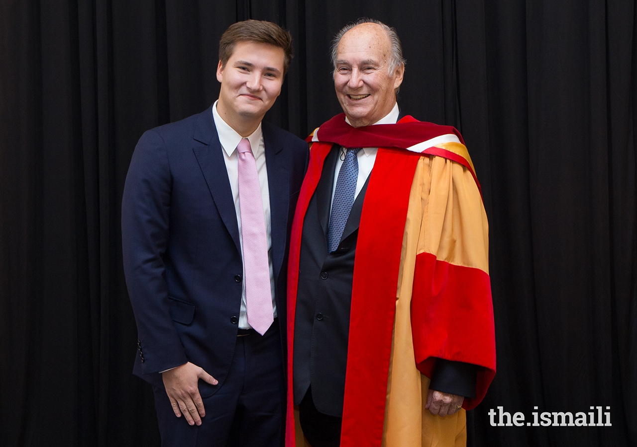 Father and son — Mawlana Hazar Imam and Prince Aly Muhammad — pose for a photo after the University of Calgary conferral ceremony.