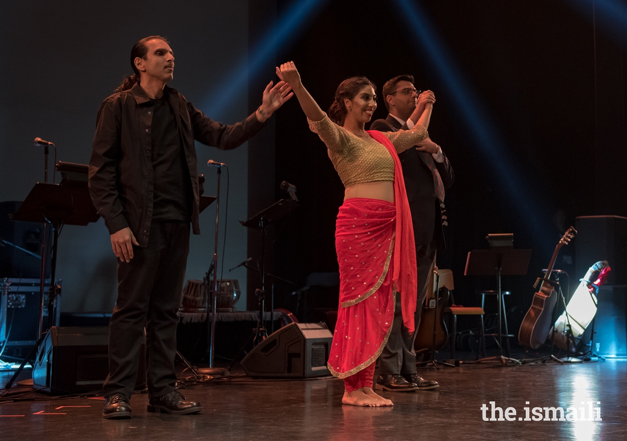 From left, producer and director Azim Keshavjee, dancer and choreographer Shereen Ladha, and playwright and director of multimedia Zaheed Damani.