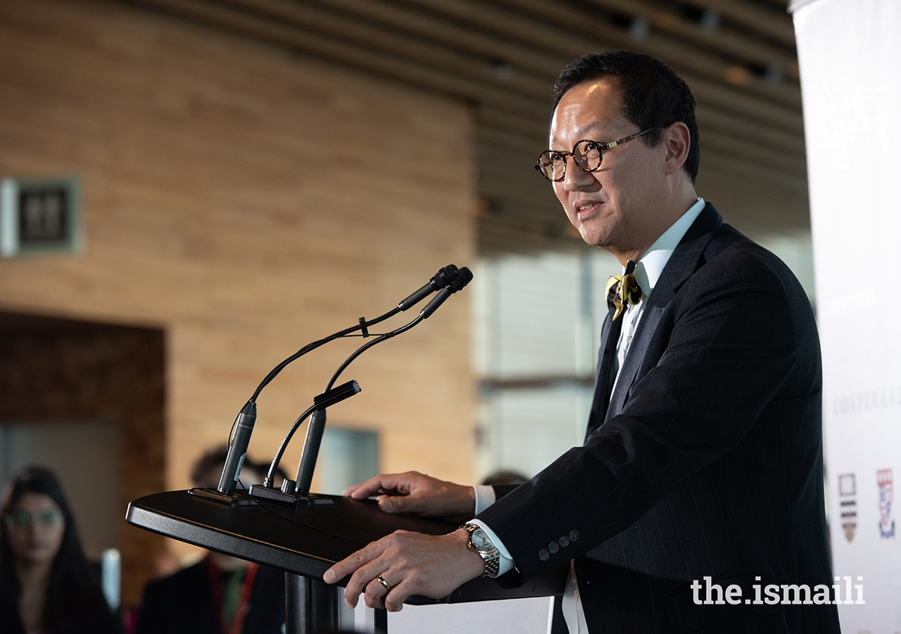 UBC President and Vice-Chancellor Santa Ono speaks at the post-honorary degree conferral ceremony about the commitment to continue collaborations between UBC, SFU, AKU, and UCA.