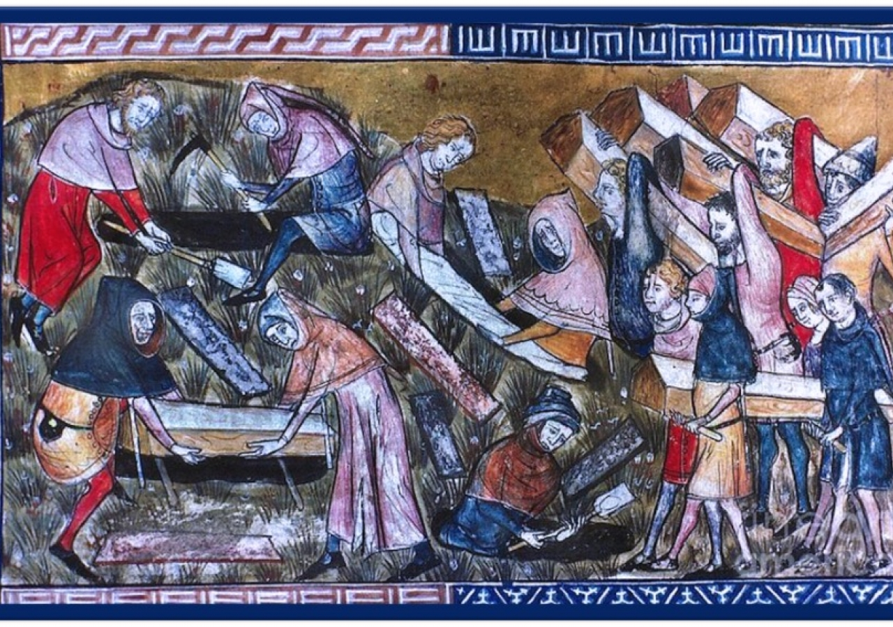 Burial of the dead in Tournai, Belgium, during the Black Death, thought to have killed up to 60 percent of the population in parts of Europe in the 14th century.