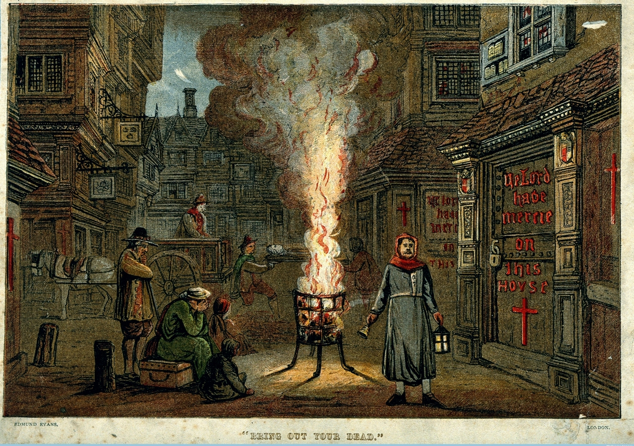 """""""Bring Out Your Dead."""" A street during the Great Plague in London, 1665, with a death cart and mourners. Credit:  Wellcome Collection. Attribution 4.0 International (CC BY 4.0)"""