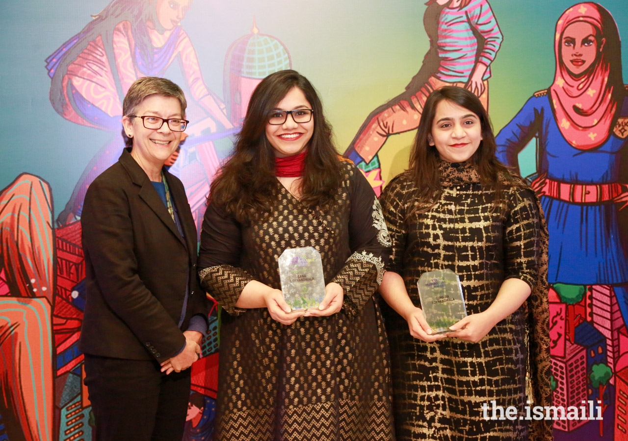 Co-Founders of HER Pakistan, Sana and Sumaira Lokhandwala receive the Young Humanitarian Award by Oxfam in Pakistan in March 2019.