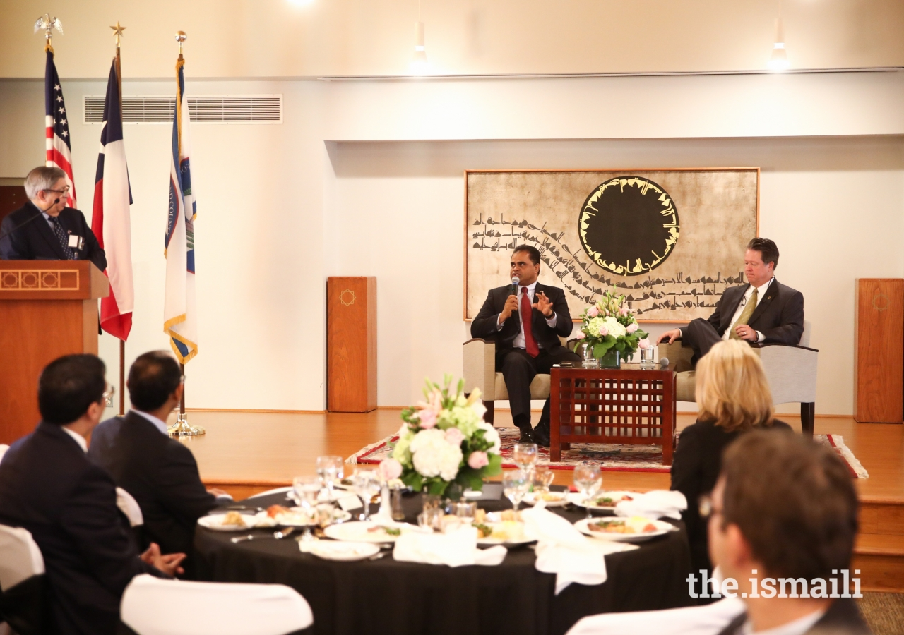 Fort Bend County Judge KP George and Jeffrey C. Wiley, President & CEO of the Fort Bend Economic Development Council, engage in a discussion forum with the Consuls General present.
