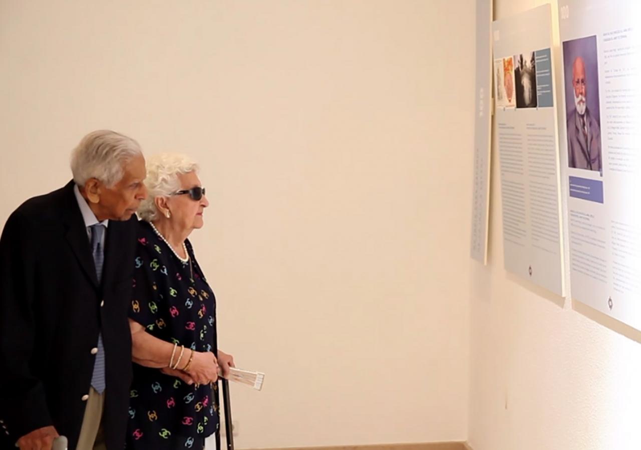 "Rai Saheba Sakina Allibhoy Mahomed, daughter of the founder of Spain Jamat, and her husband Rai Abdulmahomed Allibhoy Mahomed at the exhibition ""100 Años del Jamat de España"". Nadia Silva"
