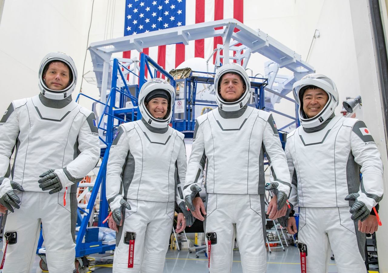 Four of the crew members of Expedition 65 currently aboard the International Space Station, including flight engineers Thomas Pesquet (ESA), Megan McArthur (NASA), and Shane Kimbrough (NASA) as well as Commander Akihiko Hoshide (JAXA).