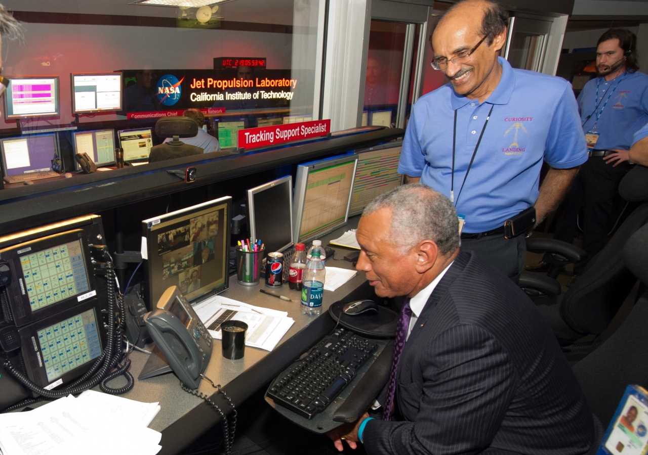 "Alaudin Bhanji with former NASA administrator, Charles Bolden, at the Mars Science Laboratory  ""Curiosity"" Entry Descent Landing event."