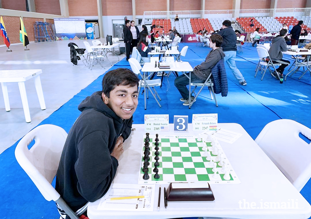 Danial Asaria at a chess tournament.