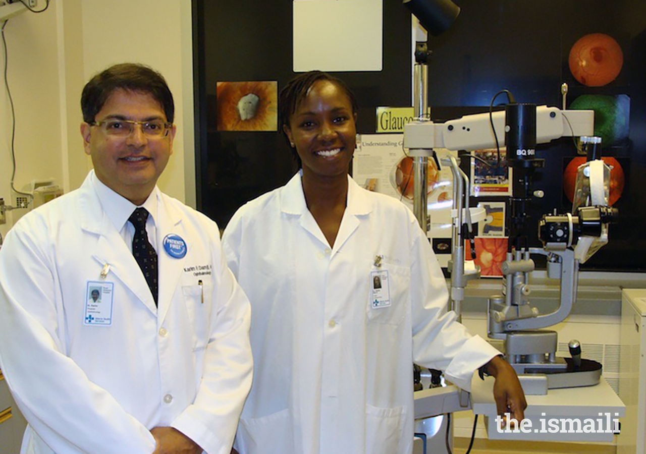 Dr Karim Damji with Dr Sheila Marco, who graduated as a glaucoma specialist from the University of Nairobi and now works at AKUH Nairobi and the University of Nairobi.