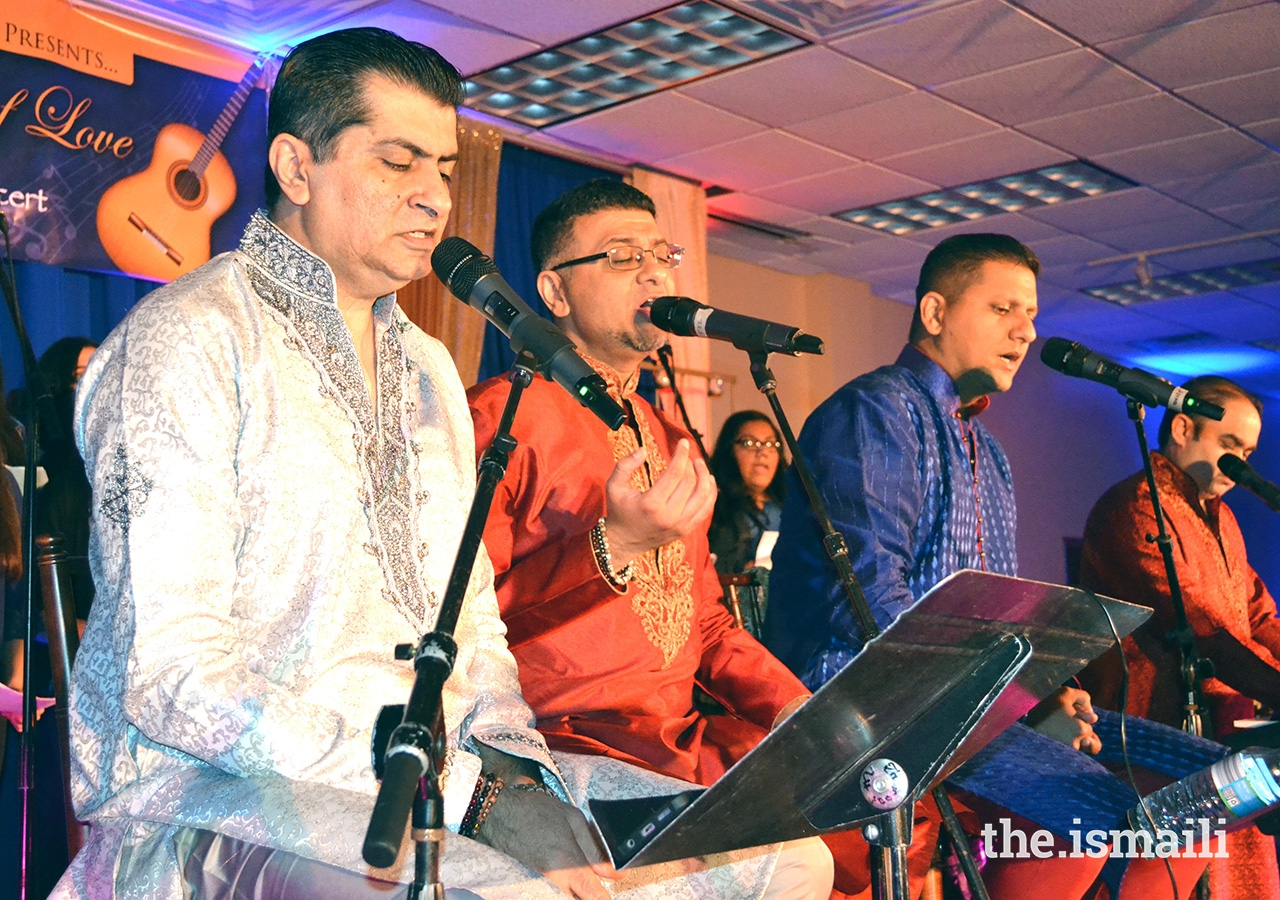 (From left): Imran Boodhwani, Fez Meghani, Aftab Ali and Pervaiz Mirza, performing at the Chicago Expressions of Love concert for the Jamat in May 2017.