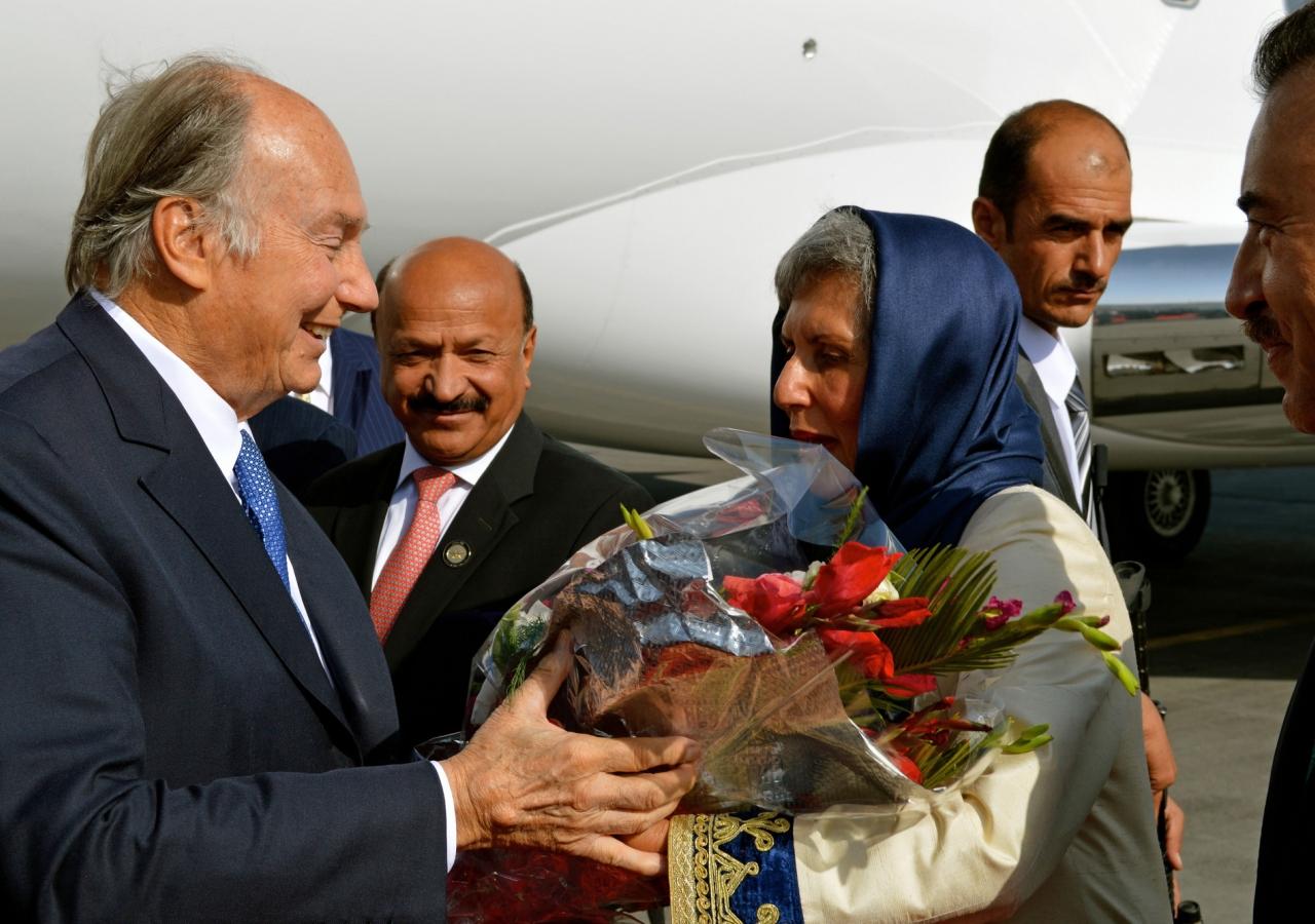 Mawlana Hazar Imam is received by the AKDN Representative Nurjehan Mawani upon his arrival at Kabul Airport. AKDN