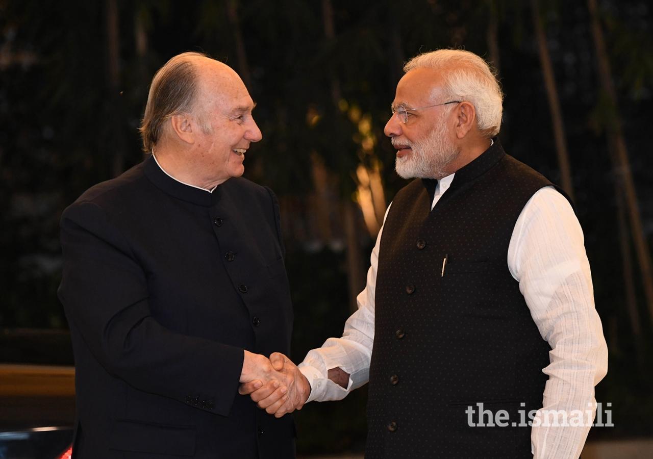 Prime Minister Shri Narendra Modi welcomes Mawlana Hazar Imam to the Prime Minister's House in New Delhi.