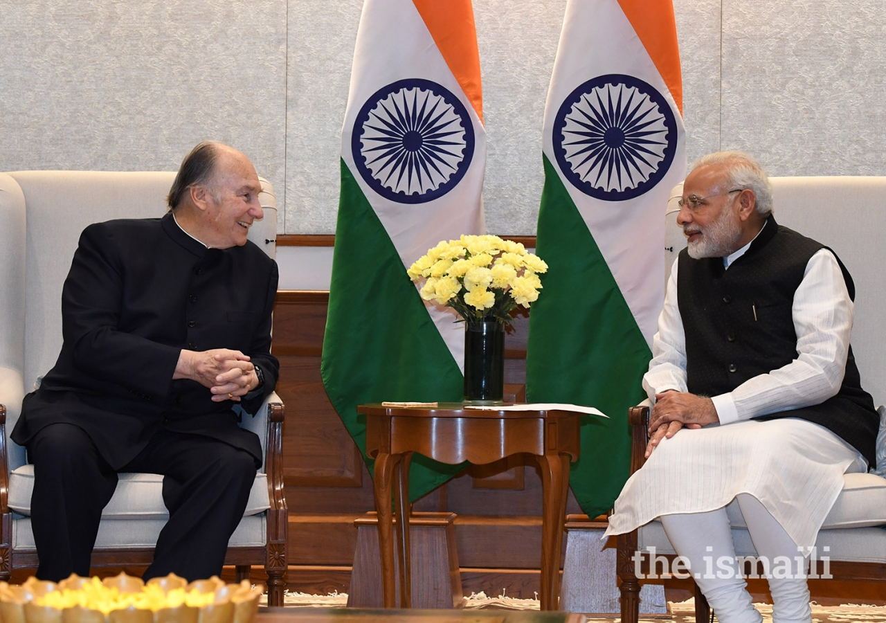 Mawlana Hazar Imam and Prime Minister Shri Narendra Modi discuss areas of mutual interest at the Prime Minister's House in New Delhi.