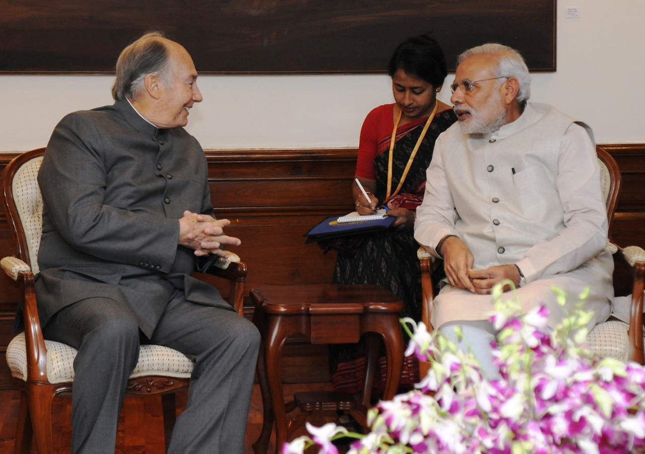 Mawlana Hazar Imam visits with the Honourable Narendra Modi, Prime Minister of India at Panchavati, the official Prime Ministerial residence. Government of India