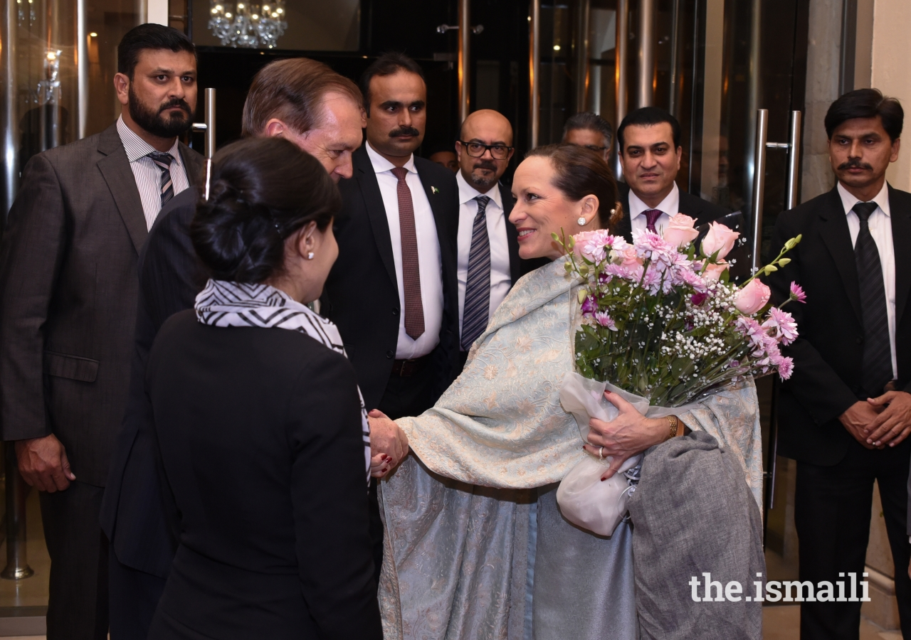 Princess Zahra is greeted upon her arrival in Islamabad.