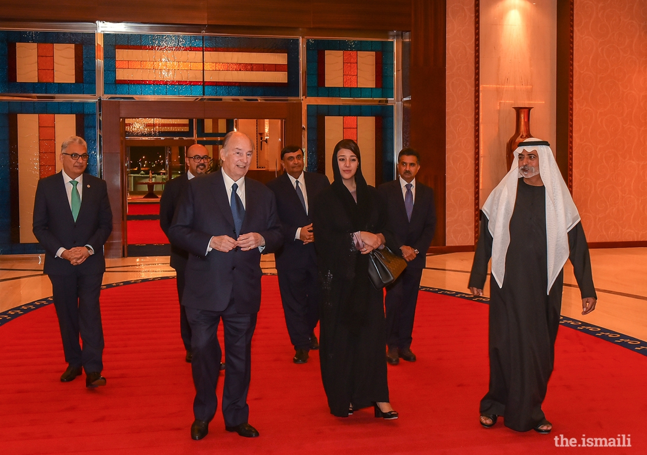 Mawlana Hazar Imam arrived in Dubai for his Diamond Jubilee visit to the United Arab Emirates and was received by both government and Jamati leaders.