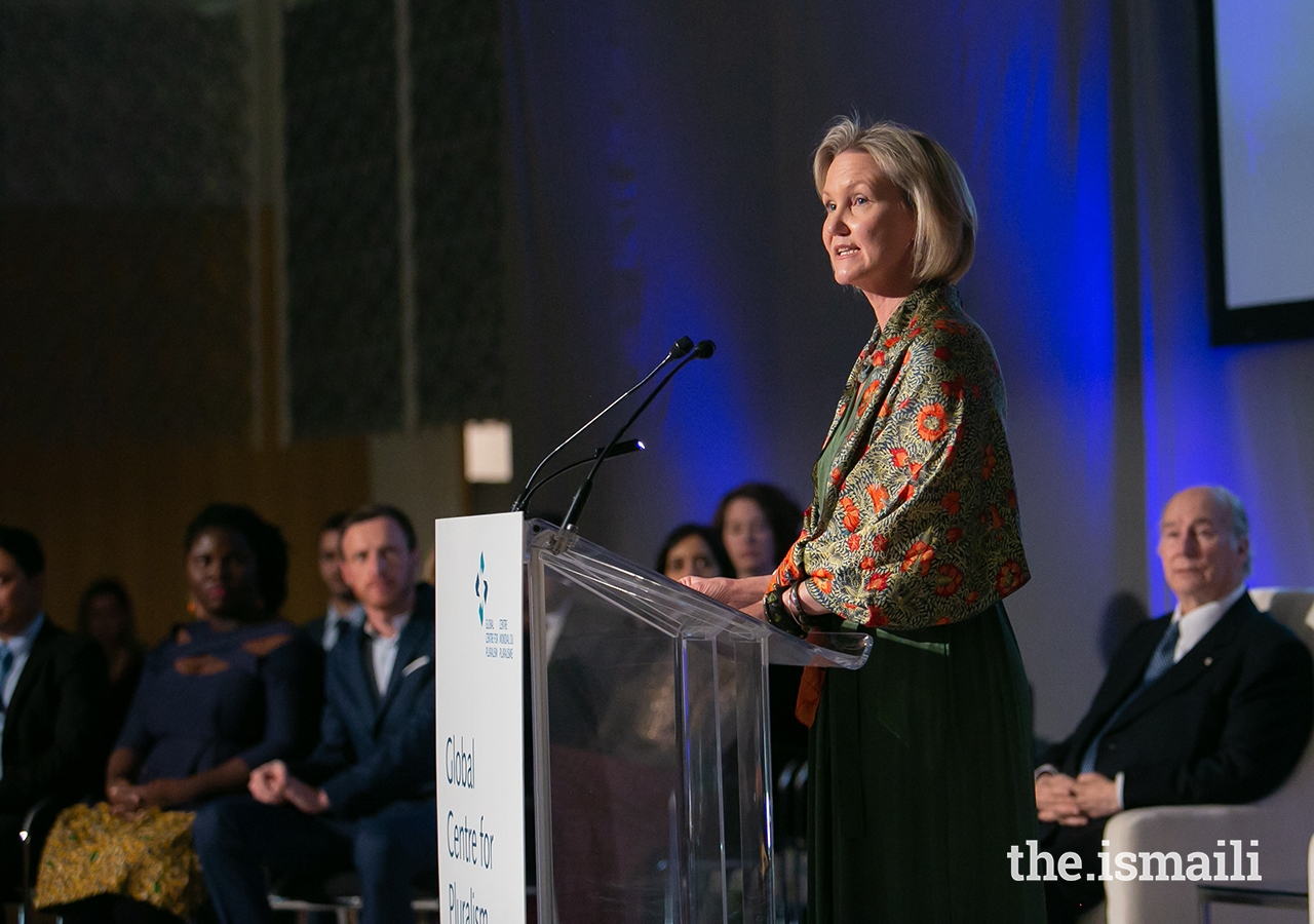 Global Centre for Pluralism Secretary General Meredith Preston McGhie delivers remarks during the Global Pluralism Award ceremony.