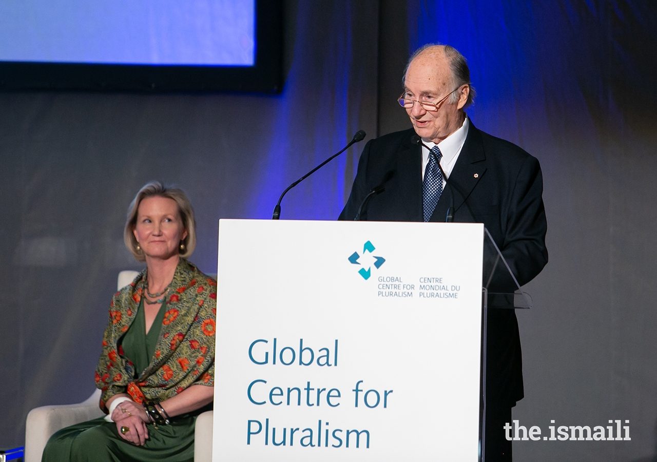Mawlana Hazar Imam delivers remarks during the Global Pluralism Award ceremony. The Global Centre for Pluralism was founded as a partnership between Mawlana Hazar Imam and the Government of Canada.