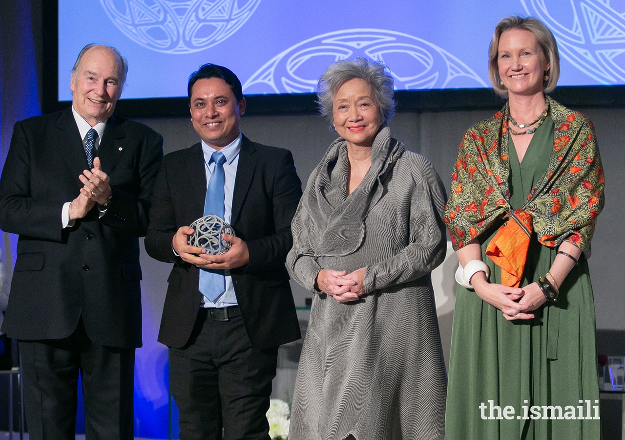 The Centre for Social Integrity founder Aung Kyaw Moe poses for a photo with Mawlana Hazar Imam, Global Centre for Pluralism Board Member The Right Honourable Adrienne Clarkson, and Global Centre for Pluralism Secretary General Meredith Preston McGhie.