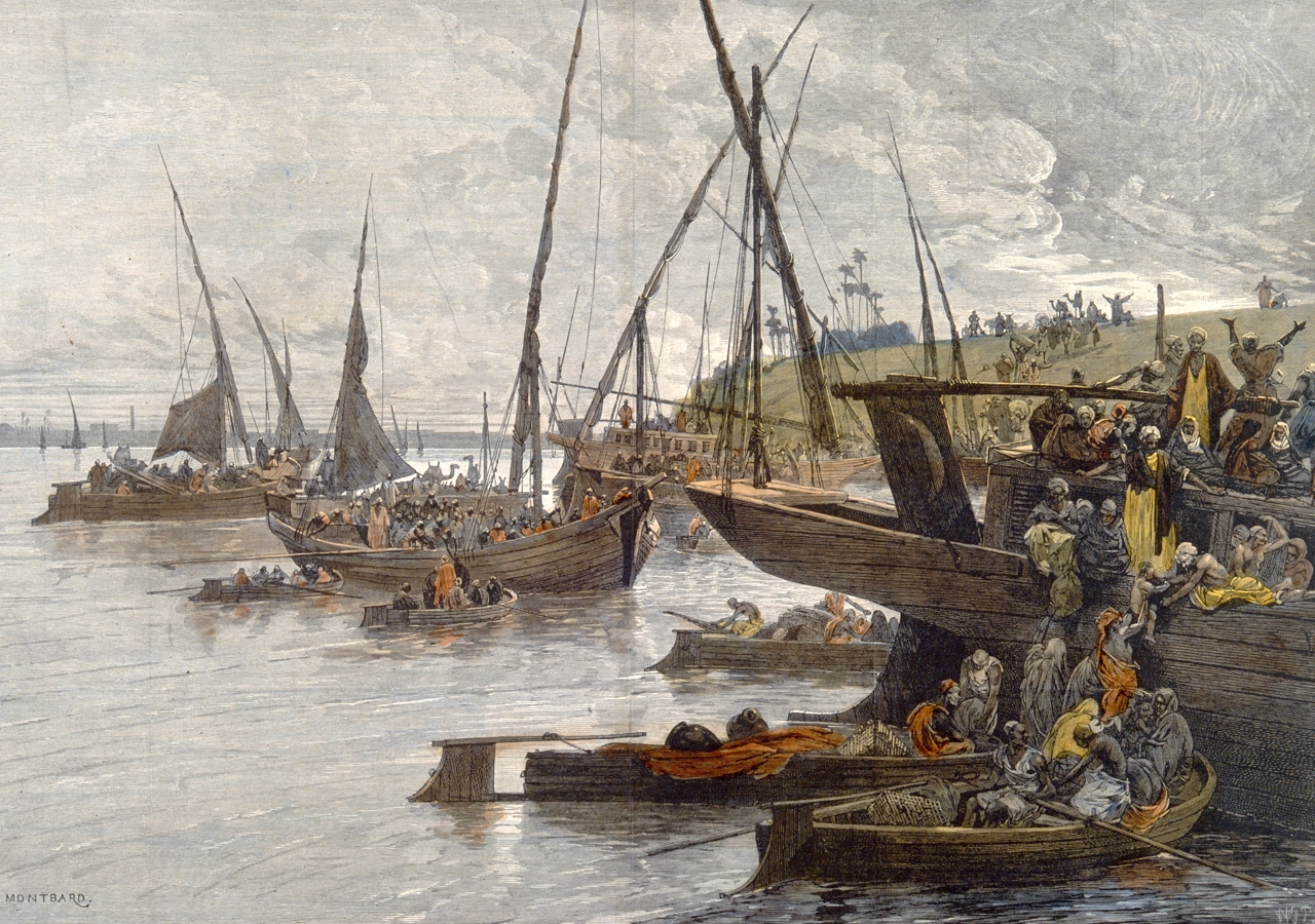 Egyptians fleeing on boats on the Nile to escape from a cholera epidemic. Colored wood engraving by W.J.P.after C. Loye. Credit: Wellcome Collection. Attribution 4.0 International (CC BY 4.0).