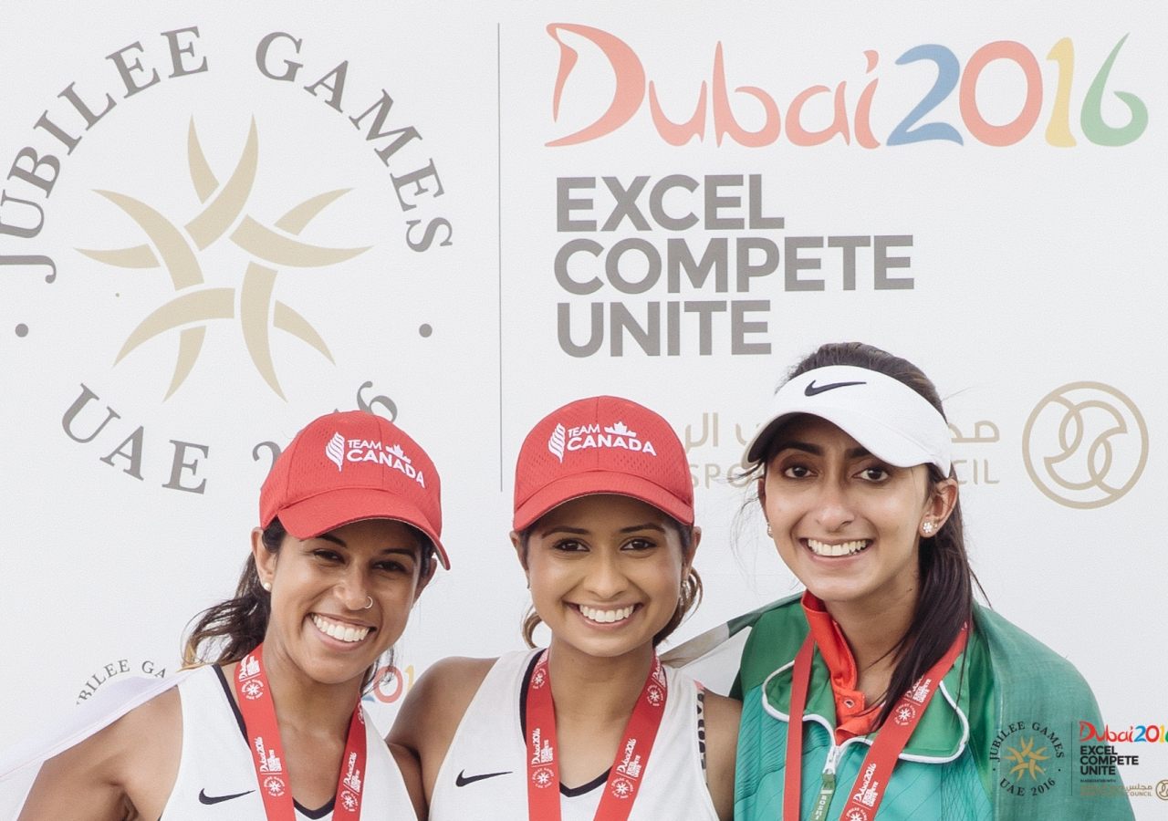 Myra Ladkawala (right) stands with fellow athletes Saira Babul (center) and Safia Ladha (left) at the 2016 Jubilee Games. JG/Farhez Rayani