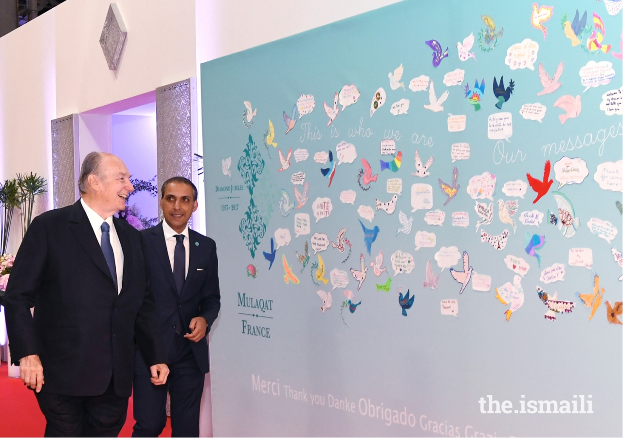 Mawlana Hazar Imam admires artwork of the France jurisdiction Jamat; Murids young and old conveyed messages of love, affection, and gratitude to Hazar Imam on the occasion of his Diamond Jubilee.