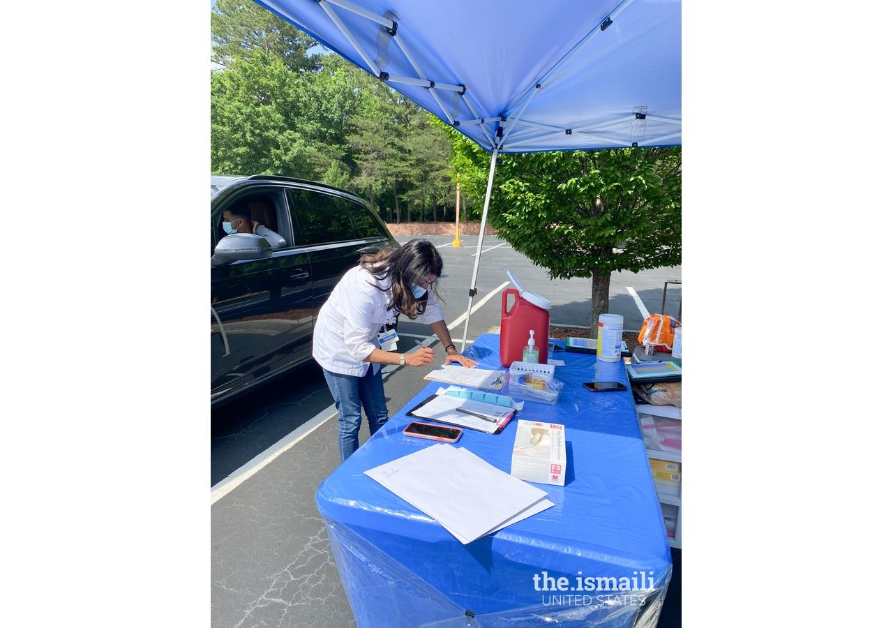 Shama Sarangi-Virani, a Pharmacy Clinical Services Manager at Walmart Pharmacy, helped secure the vaccine supply and administered vaccines at the COVID-19 vaccine drive at the Ismaili Jamatkhana in Atlanta.