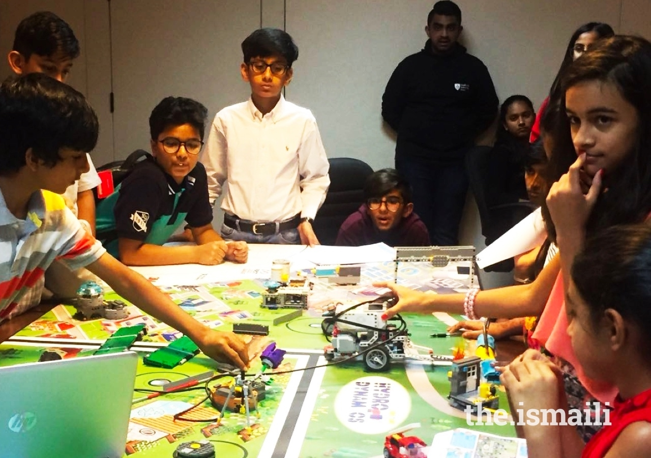 Young members of the UAE Jamat engage in a robotics competition using LEGO, as part of the i-Robotics programme at the Ismaili Centre Dubai.